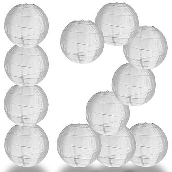 "BULK PACK (12) 14"" Irregular Ribbed White Shimmering Nylon Lantern, Durable, Hanging"