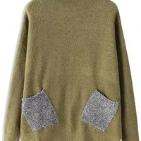 Fashion Silvery Pockets High Neck Knit Sweater - OASAP.com