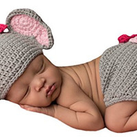 Melondipity's Baby Elephant and Bitty Bow Hat and Diaper Cover Set for Newborn Girls