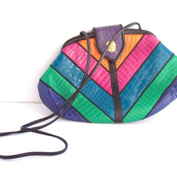 Vintage 80s Geometric Stripes Leather Purse Neon Pink Blue Green Orange and Black