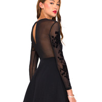 Motel Moonchild Skater Dress in Black Flower