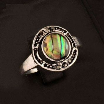 Halo Abalone Shell and Black Crystal Vintage Silver Ring