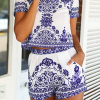 Blue White Short Sleeve Floral Crop Top With Shorts Suits -SheIn(Sheinside)