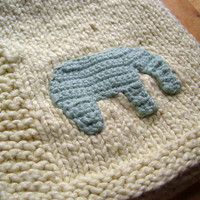 Organic Elephant baby blanket- Yellow and Mint Bittie Blanket, fairtrade, natural vegan dyed cotton
