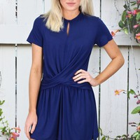 Casual Chic Twisted Front Romper {Navy} - Size SMALL