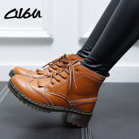 O16U Women Brogue Ankle Boots Shoes Genuine Leather Tassel Pointed Cow Muscle wedge Med heels Fur Snow Plush Winter Boots Female
