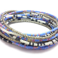 Seed bead wrap stretch bracelets, stacking, beaded, boho anklet, bohemian, stretchy stackable multi strand, blue white pink silver gold