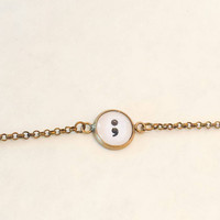 Semicolon bracelet, suicide prevention, self harm, addiction recovery, project semicolon movement inspirational gifts, gifts for him