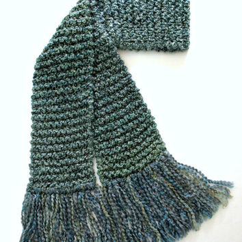 Teal Scarf Chunky Hand Knit Long Thick Knitted Scarf Men Women Multicolored Blue Green Sage 6 ft long