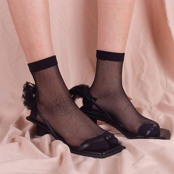 Gia Sheer Mesh Sock | Black