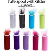 Glitter Tulle Bolt Fabric Net Spool Roll, 6-inch, 10-yard