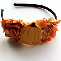 Orange Pumpkin Headband - Orange Foil Shabby Flower Headband for Fall - Harvest Headband - Thanksgiving Headband Photo Prop - Fall Headband