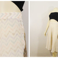Vintage Skirt 70s Young Traditions Semi Sheer Floating Pastel Zig Zag Skirt Size 10 Modern Small to Medium
