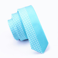 Classic Blue Check Skinny Tie Slim Neckwear Casual Tie 100% Silk Casual Classic For Men Wedding Party Business