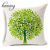 Homing Season Life Tree Decorative Pillow Case Cover Cotton Linen Bright Colorful Pillowcase Home Textile Modern 45x45cm