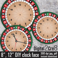 "Roulette style Large Clock Face - 12"" and 8"" Digital Downloads - DIY - Printable Image - Iron On Transfer - Wall Decor - Crafts - jpg+pdf"