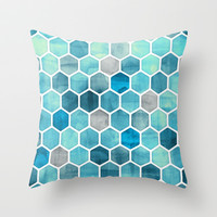 Blue Ink - watercolor hexagon pattern Throw Pillow by micklyn