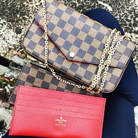 LV Louis Vuitton 3AAA Classic Presbyopia Retro Chain Bag Shoulder Bag Mahjong Bag Three-piece Set(With box)