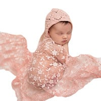 Newborn Baby Girls Boys Maternity Props Lace Wraps Photography Baby Shower Dress Quilt Excluding headdress flower IMY66