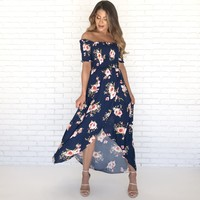 Always Yours Floral Maxi Dress in Navy