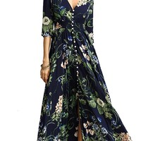 Daytime Drama Floral Pattern 3/4 Sleeve V Neck Button Smocked Casual A Line Maxi Dress