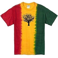 Mens Black Tree of Life Rasta Tie Dye T-Shirt