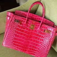 1910 Hermes Birkin Fashion Crocodile pattern Handbag Rose Red