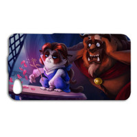 Disney Grumpy Cat Beauty and the Beast Funny Cute Custom Case Cover iPhone 4 iPhone 4s iPhone 5 iPhone 5s