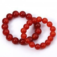 Red Agate Stone Bracelets with 12mm and 15mm Beads Gorgeous Couples Jewelry