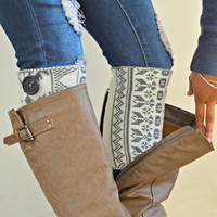 Tribal knit boot cuffs - gray leg warmers