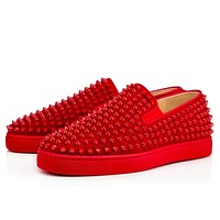 Christian Louboutin Cl Roller-boat Mens Flat Rougissime Suede 12s Sneakers