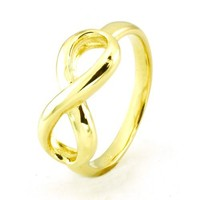 TIONEER Sterling Silver Iconic Classic 14K Gold Plated Infinity Ring