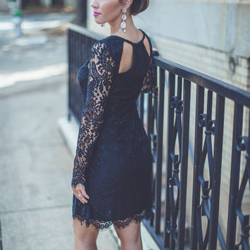 Cut-Out Lace Cocktail Dress in Black