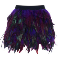 ROMWE | Purple Faux Feather Skirt, The Latest Street Fashion