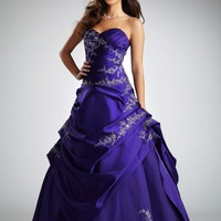 Satin and Tulle Asymetrical Pick Up Ball Gown - David's Bridal- mobile
