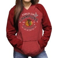 Women's Chicago Blackhawks Original Retro Brand Red 2015 Stanley Cup Champions Relaxed Raglan Hoodie