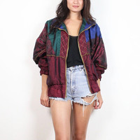 Vintage 80s Windbreaker Jacket Burgundy Blue Green Gold Quilted Anorak Bomber Jacket 1980s Sporty Floral Color Block Track Coat M L Large XL