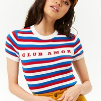 Striped Club Amour Graphic Top