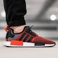 Adidas NMD men and women recreational sports running shoes  F Red