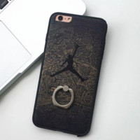 Unisex Lover's Jordan Print Iphone 7 7plus & 6 6s Plus Cover Case With Ring  + Gift Box