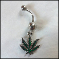 14g Weed Leaf Dangling Navel Ring! - Belly Bars - Belly Button Rings - Body Jewerly