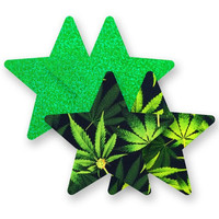 Nippies® High Society Pot Leaf Star Pasties High Society Star Pasties Green A-DD
