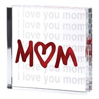Gifts & Decor I Love You Mom Glass Cube Mothers Day Gift Figurine