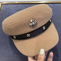 Chrome Hearts New fashion couple sun protection cap hat Khaki