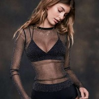 Ladies Transparent See Through Sexy Shirt Bottoming Shirt [9008231107]