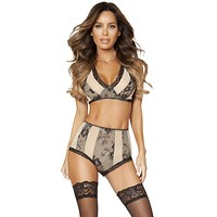 Sexy Crystal Two-Tone Bra and Short Set with Lace Trim