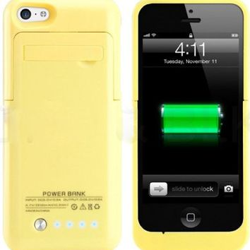 Kujian iPhone 5s Battery Case External Battery Power Bank with Kickstand Holder for Apple iPhone 5/5S/5C/SE (iOS 8 or above Compatible)-Yellow