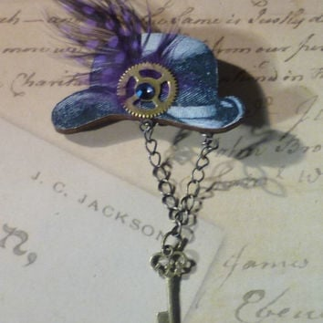 Steampunk Style Derby Hat w Feather Brooch
