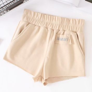 Autumn hot pants reflective letters shorts edging high waist shorts pants