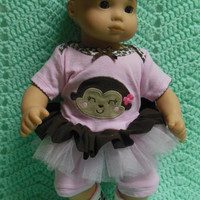 """AMERICAN GIRL Bitty Baby Clothes """"Monkey Face"""" (15 inch) doll outfit dress, leggings, booties socks, and headband hearts animal print monkey"""